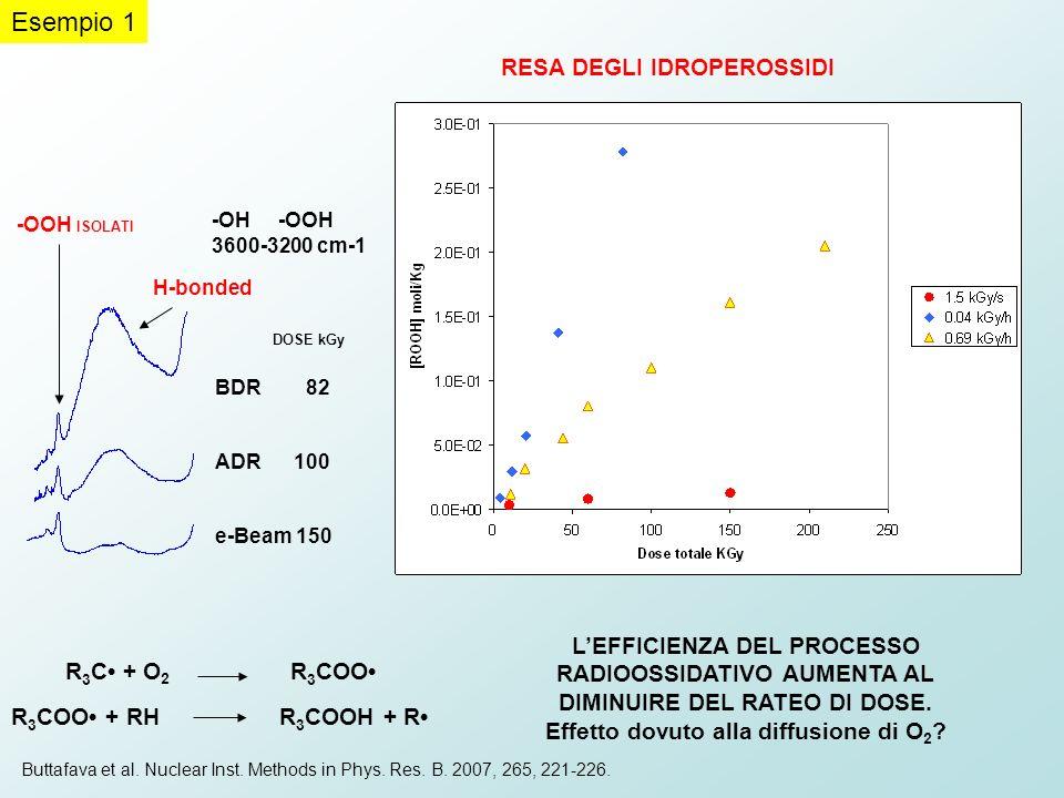 DOSE kGy BDR 82 ADR 100 e-Beam 150 -OH -OOH 3600-3200 cm-1 RESA DEGLI IDROPEROSSIDI R 3 C + O 2 R 3 COO R 3 COO + RH R 3 COOH + R -OOH ISOLATI H-bonde