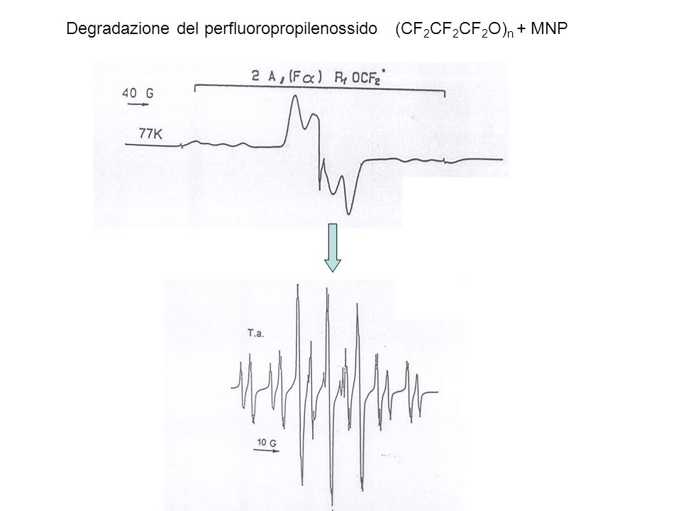 Degradazione del perfluoropropilenossido (CF 2 CF 2 CF 2 O) n + MNP