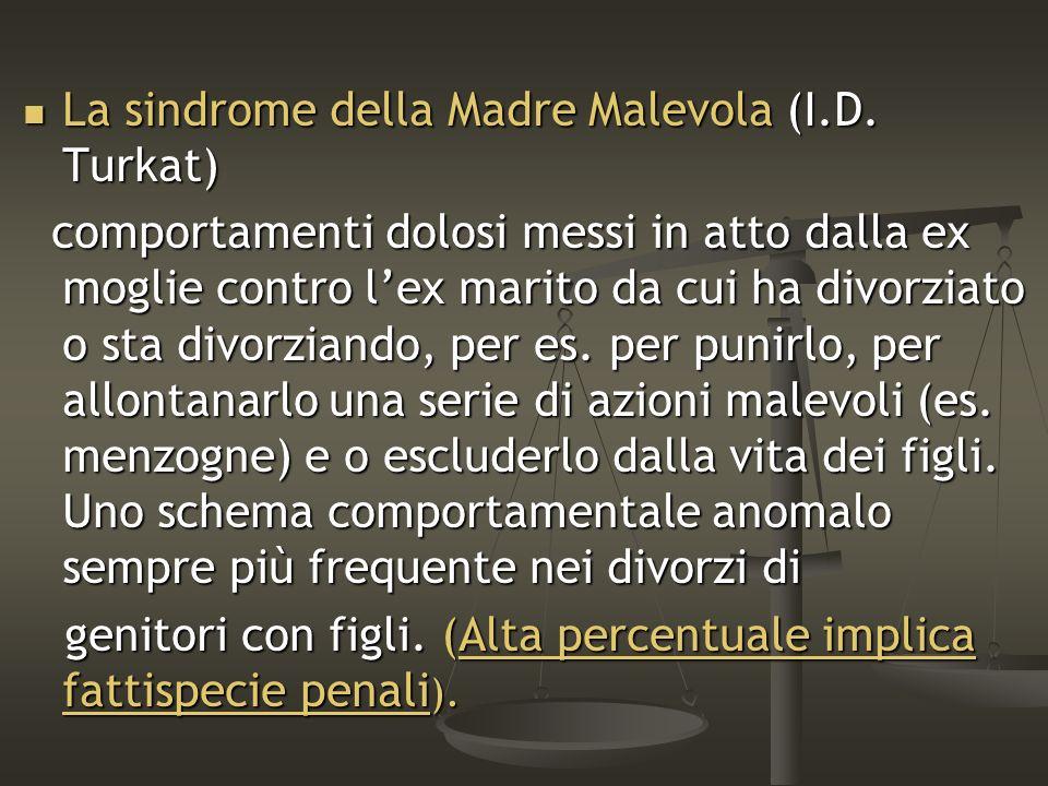 La sindrome della Madre Malevola (I.D. Turkat) La sindrome della Madre Malevola (I.D. Turkat) comportamenti dolosi messi in atto dalla ex moglie contr