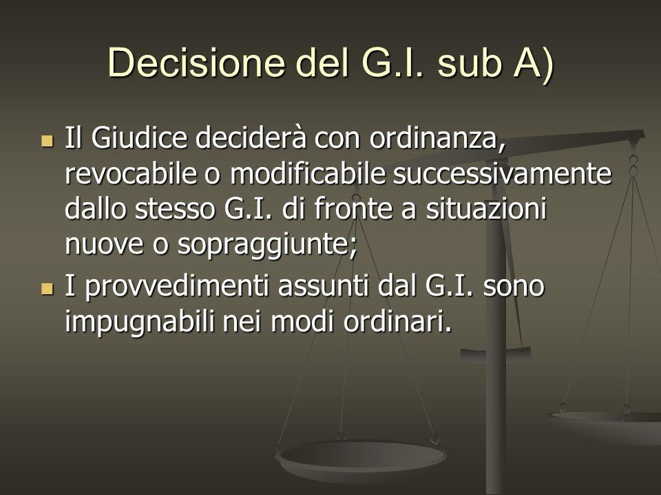 Decisione del G.I. sub A) Il Giudice deciderà con ordinanza, revocabile o modificabile successivamente dallo stesso G.I. di fronte a situazioni nuove