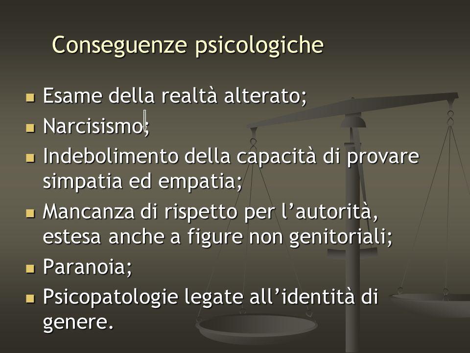 Conseguenze psicologiche Esame della realtà alterato; Esame della realtà alterato; Narcisismo; Narcisismo; Indebolimento della capacità di provare sim