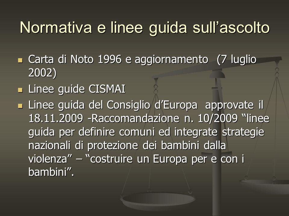 Normativa e linee guida sullascolto Carta di Noto 1996 e aggiornamento (7 luglio 2002) Carta di Noto 1996 e aggiornamento (7 luglio 2002) Linee guide