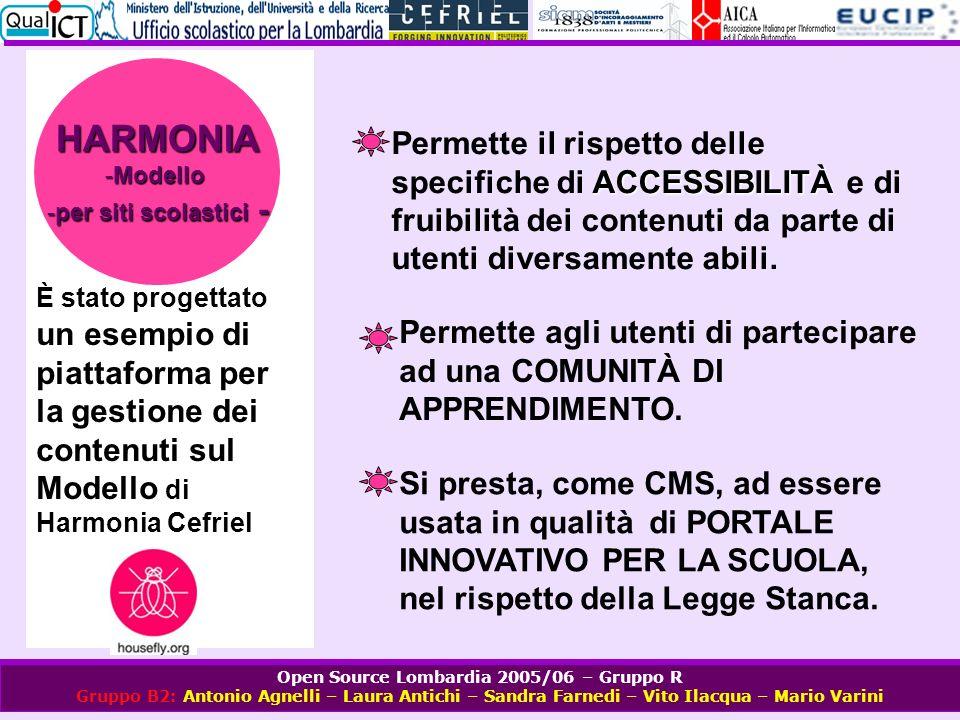 Open Source Lombardia 2005/06 – Gruppo R Gruppo B2: Antonio Agnelli – Laura Antichi – Sandra Farnedi – Vito Ilacqua – Mario Varini È stato progettato