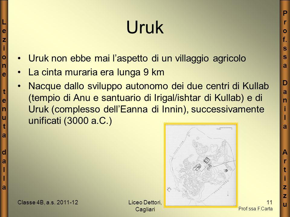 LezionetenutadallaLezionetenutadalla P r o f. s a D a n i l a A r t i z u Classe 4B, a.s. 2011-12Liceo Dettori, Cagliari 11 Prof.ssa F.Carta Uruk Uruk