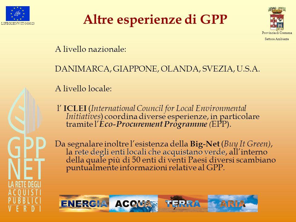 LIFEO2ENV/IT/000023 Provincia di Cremona Settore Ambiente Altre esperienze di GPP A livello nazionale: DANIMARCA, GIAPPONE, OLANDA, SVEZIA, U.S.A. A l