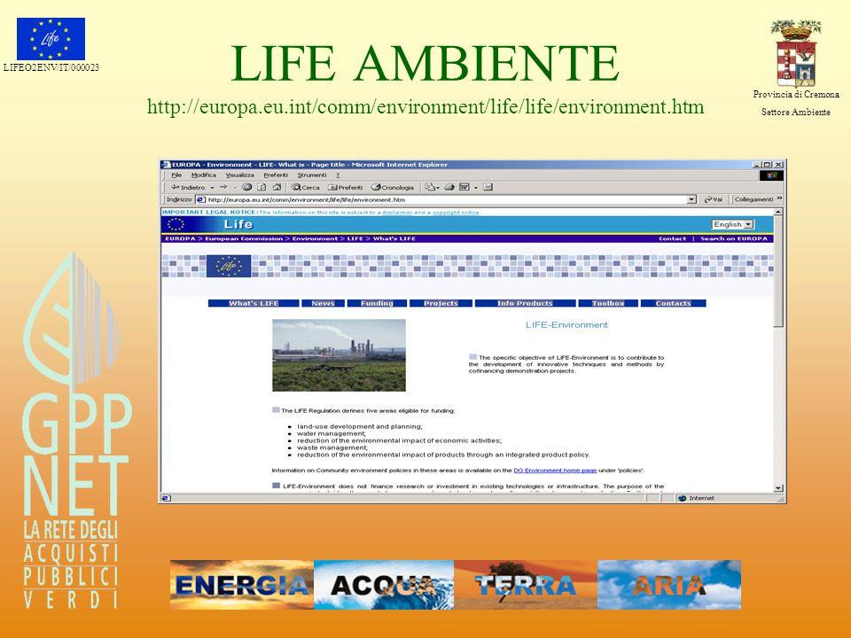 LIFEO2ENV/IT/000023 Provincia di Cremona Settore Ambiente LIFE AMBIENTE http://europa.eu.int/comm/environment/life/life/environment.htm
