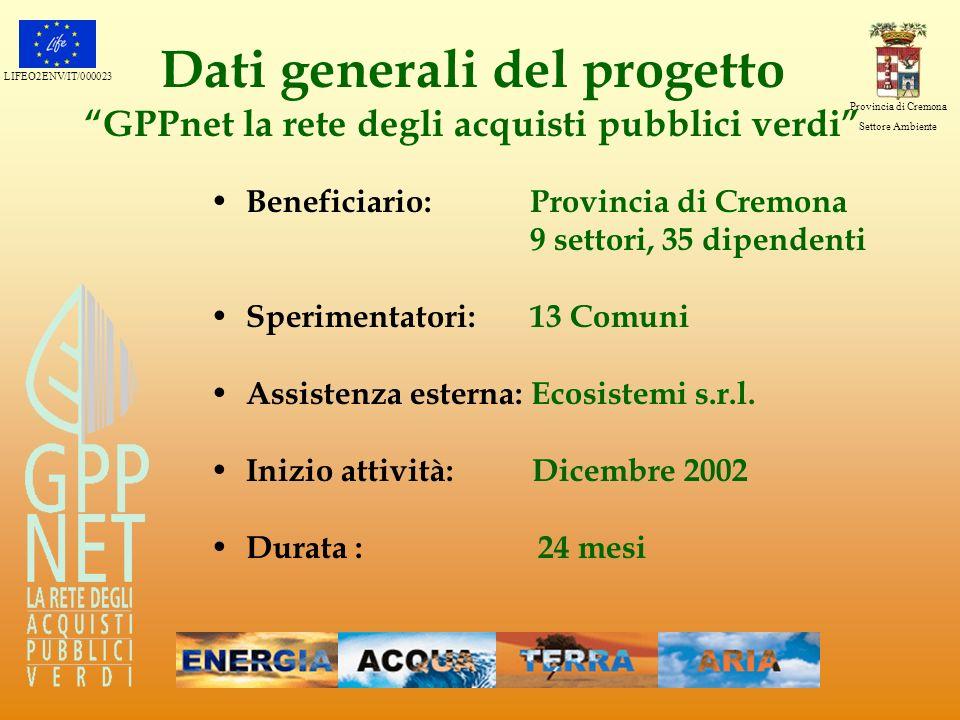 LIFEO2ENV/IT/000023 Provincia di Cremona Settore Ambiente Dati generali del progetto GPPnet la rete degli acquisti pubblici verdi Beneficiario: Provin