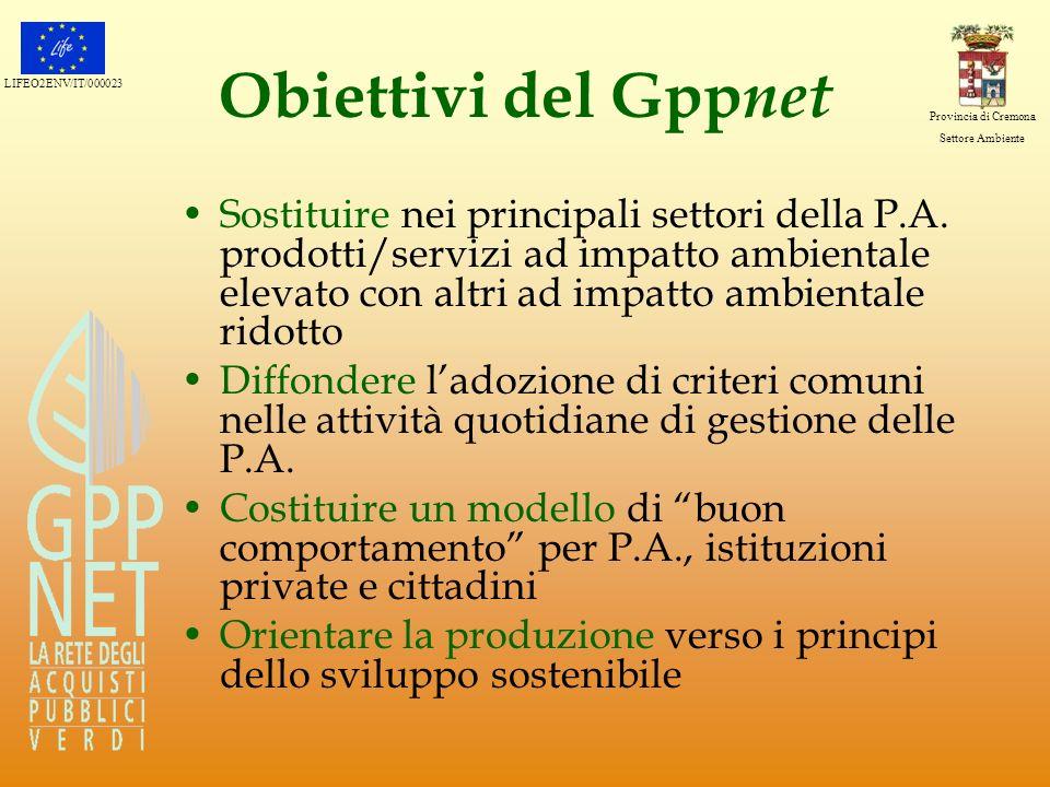 LIFEO2ENV/IT/000023 Provincia di Cremona Settore Ambiente Obiettivi del Gpp net Sostituire nei principali settori della P.A. prodotti/servizi ad impat