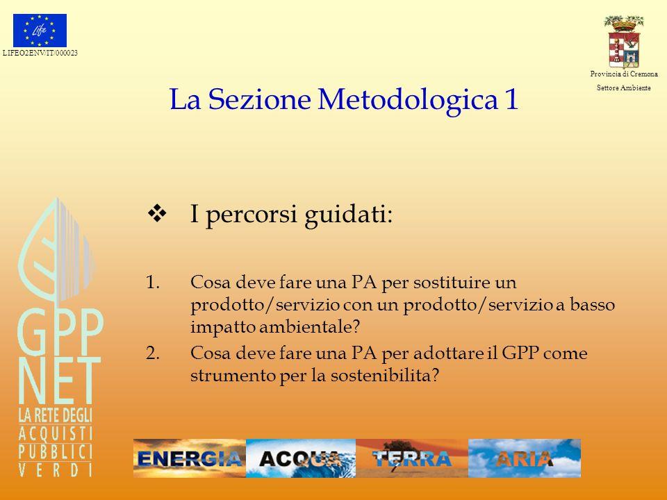 LIFEO2ENV/IT/000023 Provincia di Cremona Settore Ambiente La Sezione Metodologica 1 I percorsi guidati: 1.Cosa deve fare una PA per sostituire un prod