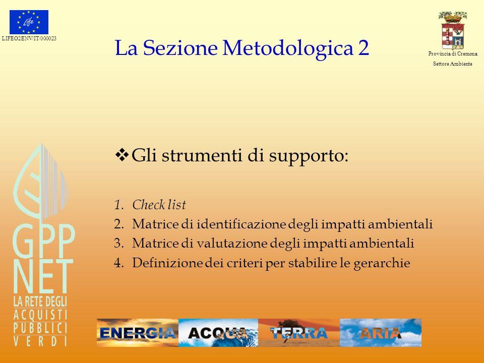 LIFEO2ENV/IT/000023 Provincia di Cremona Settore Ambiente La Sezione Metodologica 2 Gli strumenti di supporto: 1.Check list 2.Matrice di identificazio