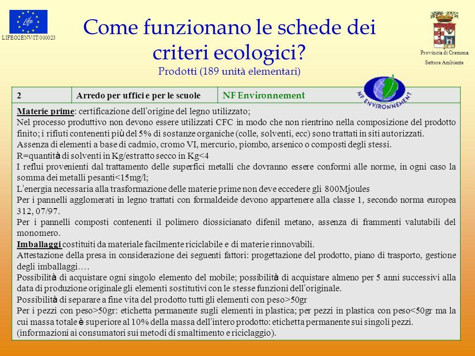 LIFEO2ENV/IT/000023 Provincia di Cremona Settore Ambiente Come funzionano le schede dei criteri ecologici? Prodotti (189 unità elementari) 2Arredo per