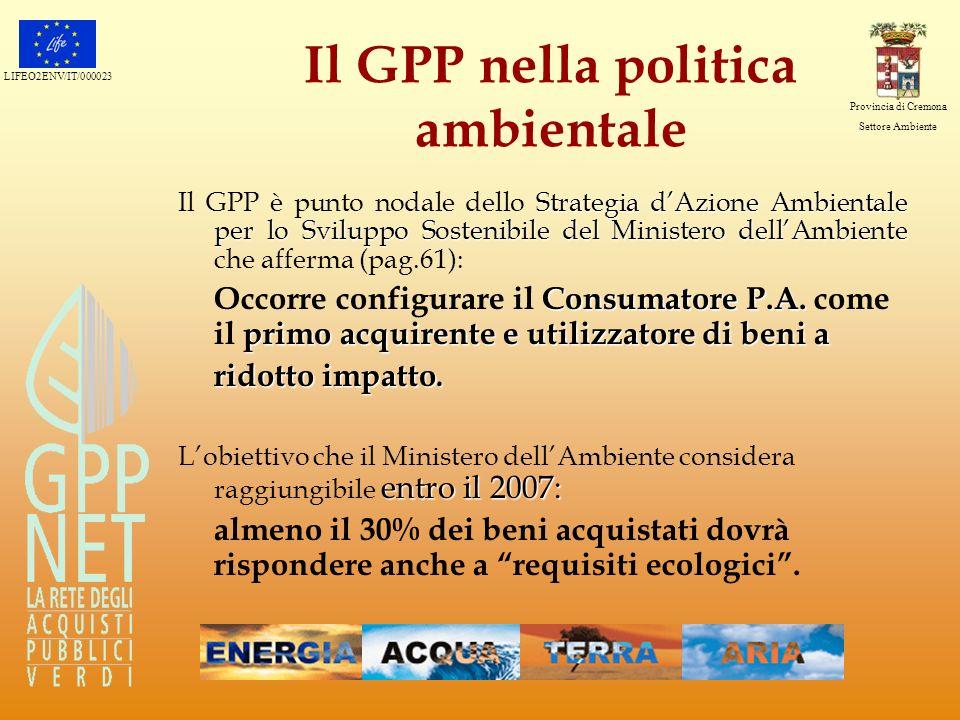 LIFEO2ENV/IT/000023 Provincia di Cremona Settore Ambiente Il GPP nella politica ambientale Strategia dAzione Ambientale per lo Sviluppo Sostenibile de