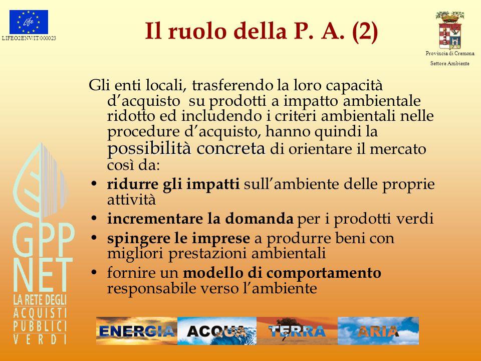 LIFEO2ENV/IT/000023 Provincia di Cremona Settore Ambiente La struttura del Manuale 300 pagine 3 sezioni (generale, metodologica, operativa) 14 marchi ecologici analizzati 4 macrocategorie 13 categorie di prodotti 189 prodotti