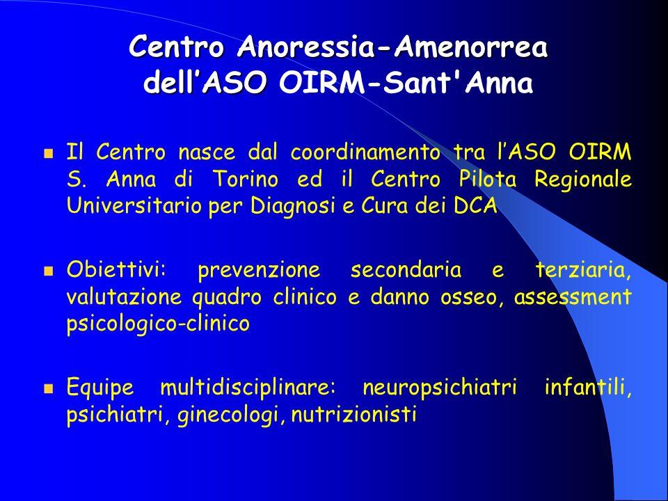 Centro Anoressia-Amenorrea dellASO Centro Anoressia-Amenorrea dellASO OIRM-Sant'Anna Il Centro nasce dal coordinamento tra lASO OIRM S. Anna di Torino