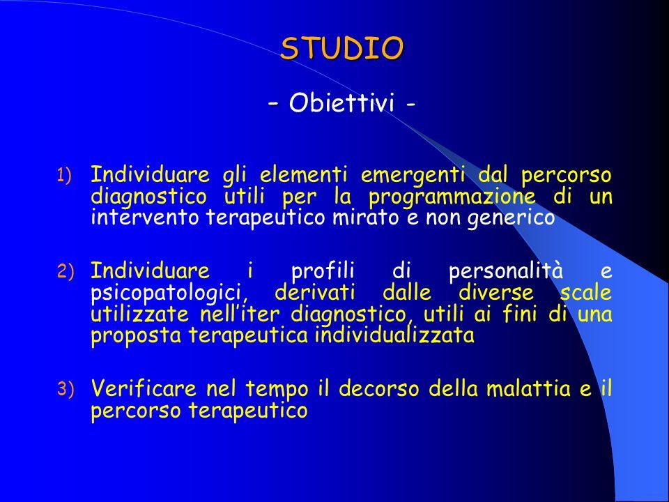 STUDIO - STUDIO - Obiettivi - 1) Individuare gli elementi emergenti dal percorso diagnostico utili per la programmazione di un intervento terapeutico