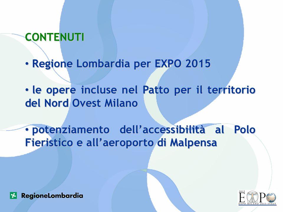 CONTENUTI Regione Lombardia per EXPO 2015 Regione Lombardia per EXPO 2015 le opere incluse nel Patto per il territorio del Nord Ovest Milano le opere
