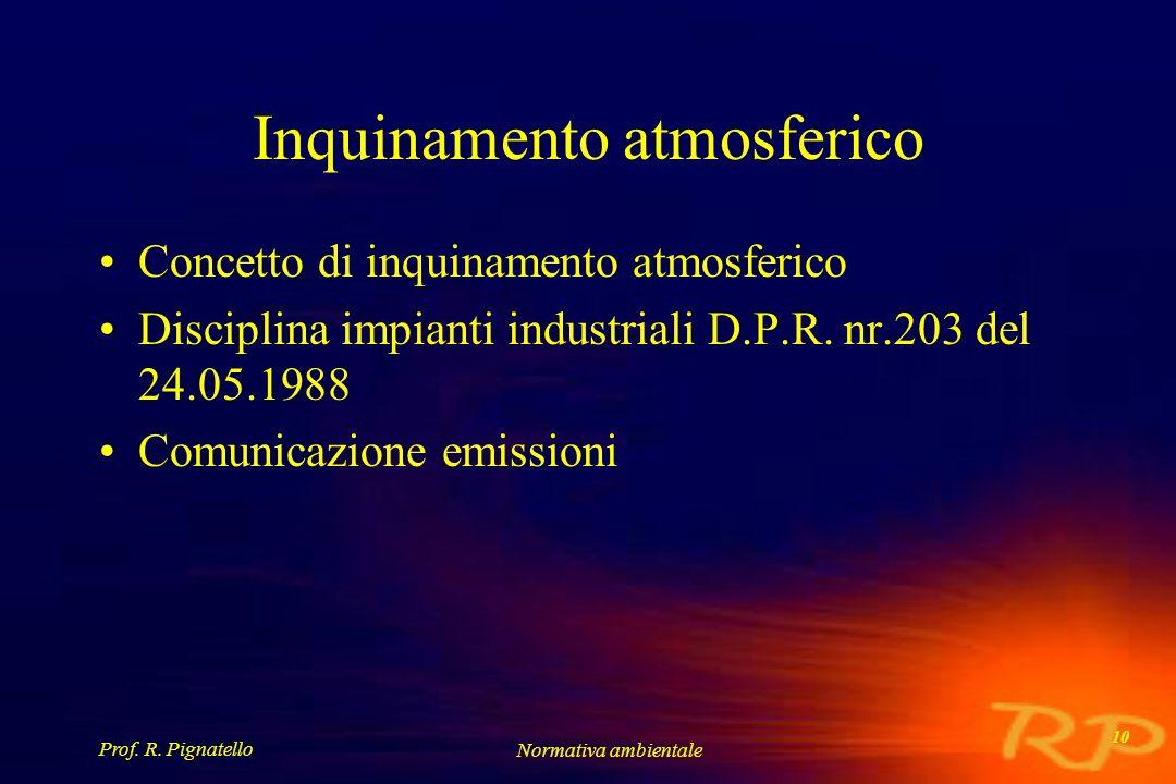 Prof. R. Pignatello Normativa ambientale 10 Inquinamento atmosferico Concetto di inquinamento atmosferico Disciplina impianti industriali D.P.R. nr.20