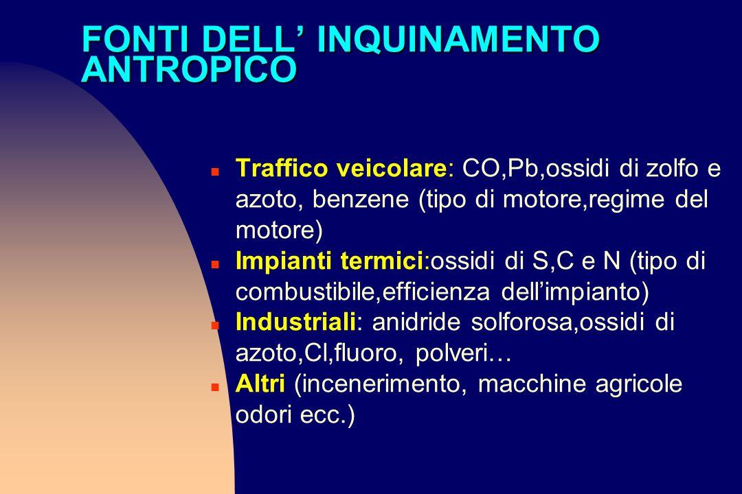 FONTI DELL INQUINAMENTO ANTROPICO n Traffico veicolare: CO,Pb,ossidi di zolfo e azoto, benzene (tipo di motore,regime del motore) n Impianti termici:o