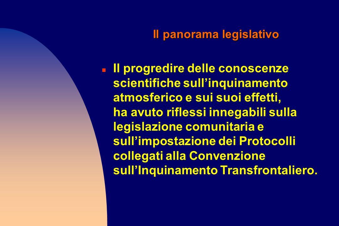 Il panorama legislativo n Il progredire delle conoscenze scientifiche sullinquinamento atmosferico e sui suoi effetti, ha avuto riflessi innegabili su