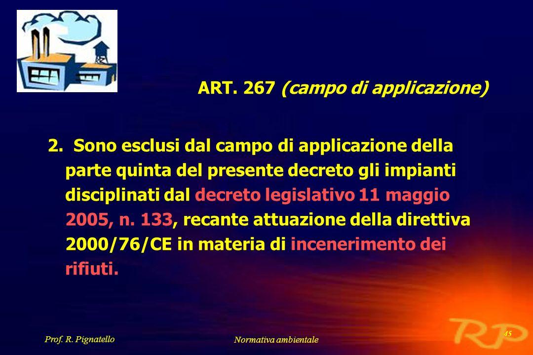 Prof. R. Pignatello Normativa ambientale 45 ART. 267 (campo di applicazione) 2. Sono esclusi dal campo di applicazione della parte quinta del presente