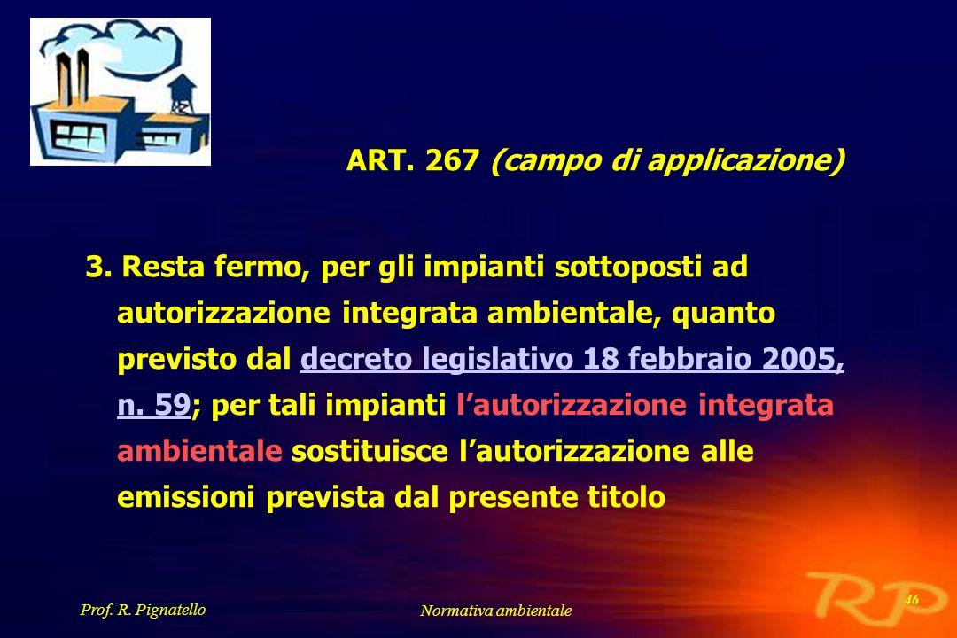 Prof. R. Pignatello Normativa ambientale 46 ART. 267 (campo di applicazione) 3. Resta fermo, per gli impianti sottoposti ad autorizzazione integrata a