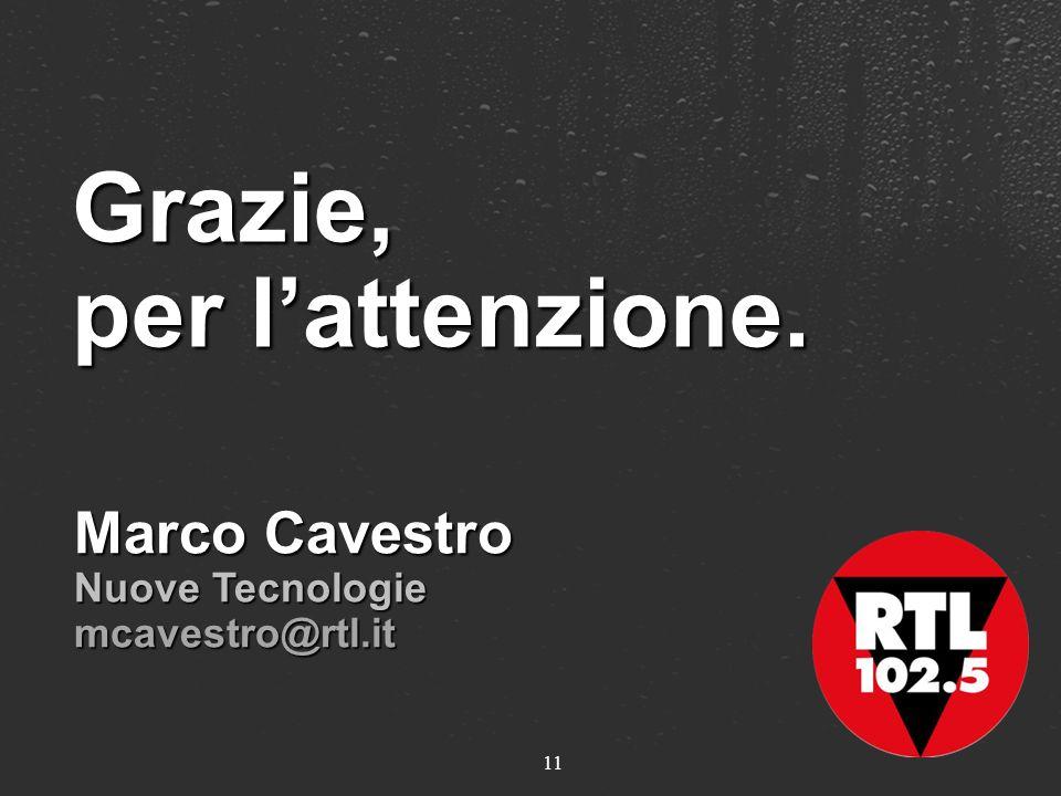11 Grazie, per lattenzione. Marco Cavestro Nuove Tecnologie mcavestro@rtl.it