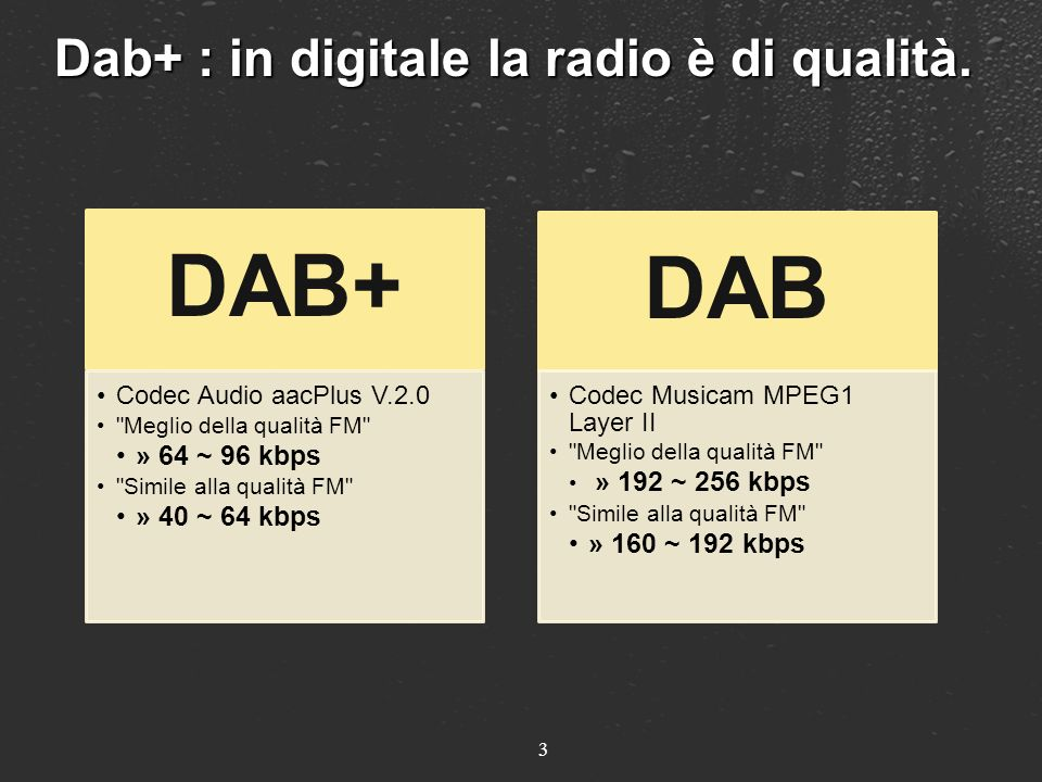 4 Dab+ : in digitale è in 5.1 surround Lestensione al 5.1 surround può essere associata sia alla codifica HE-AAC v2 sia allMPEG Audio Layer II, pur rimanendo pienamente compatibile con i ricevitori stereo o mono.