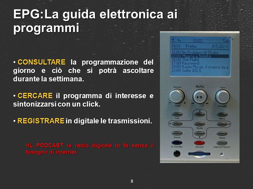 EPG:La guida elettronica ai programmi CONSULTARE la programmazione del giorno e ciò che si potrà ascoltare durante la settimana. CONSULTARE la program