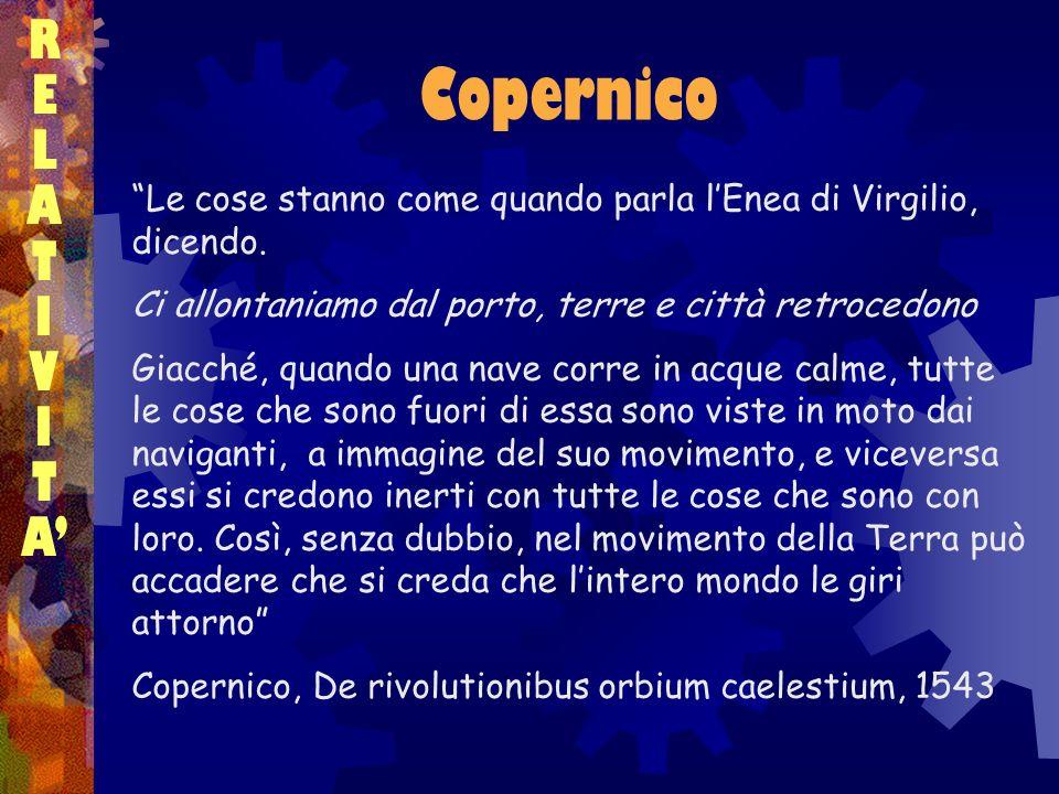 Copernico RELATIVITARELATIVITA Le cose stanno come quando parla lEnea di Virgilio, dicendo. Ci allontaniamo dal porto, terre e città retrocedono Giacc
