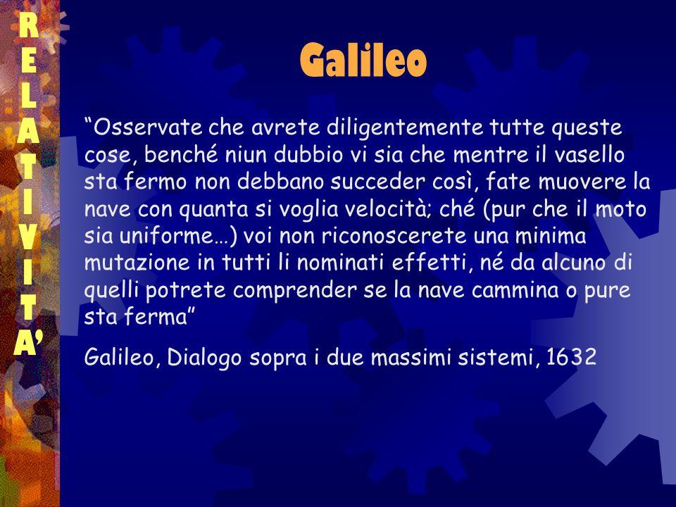 Galileo RELATIVITARELATIVITA Osservate che avrete diligentemente tutte queste cose, benché niun dubbio vi sia che mentre il vasello sta fermo non debb