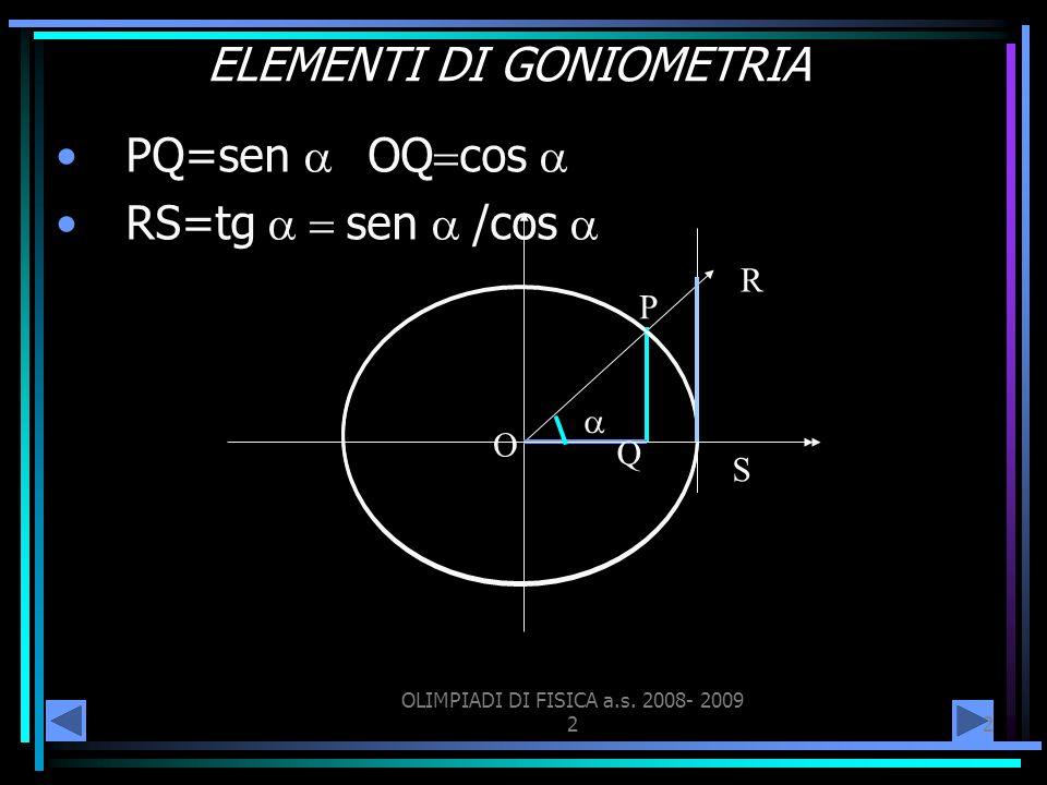 OLIMPIADI DI FISICA a.s. 2008- 2009 22 ELEMENTI DI GONIOMETRIA PQ=sen OQ cos RS=tg sen /cos O P Q R S