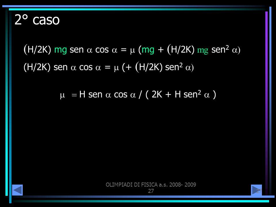 OLIMPIADI DI FISICA a.s. 2008- 2009 27 2° caso H/2K) mg sen cos = (mg + H/2K) mg sen 2 (H/2K) sen cos = (+ H/2K) sen 2 H sen cos / ( 2K + H sen 2 )