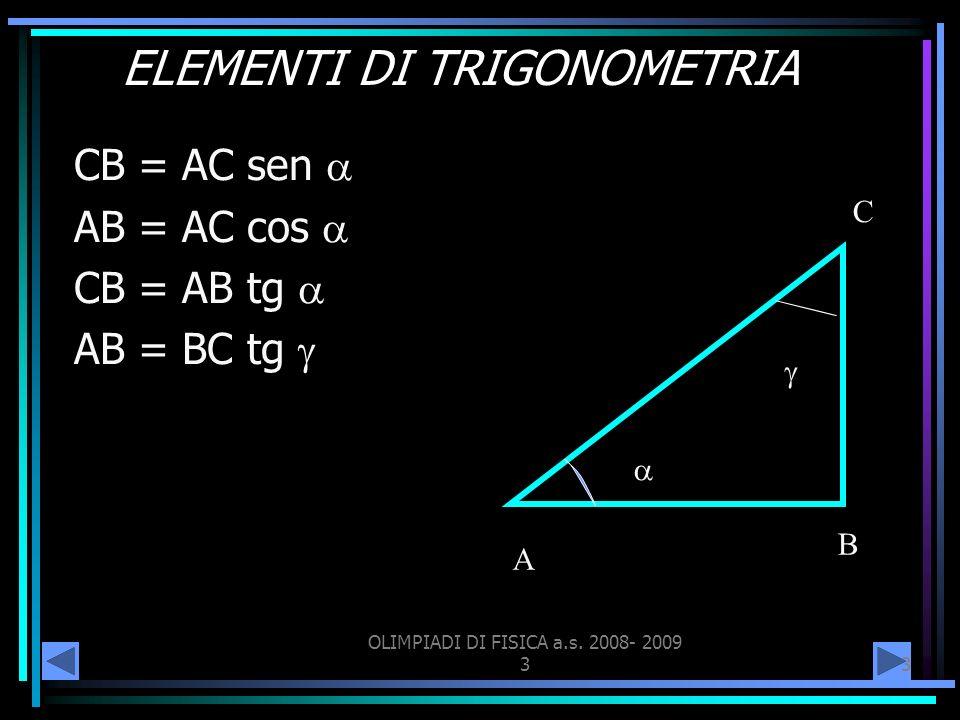 OLIMPIADI DI FISICA a.s. 2008- 2009 33 ELEMENTI DI TRIGONOMETRIA CB = AC sen AB = AC cos CB = AB tg AB = BC tg A B C