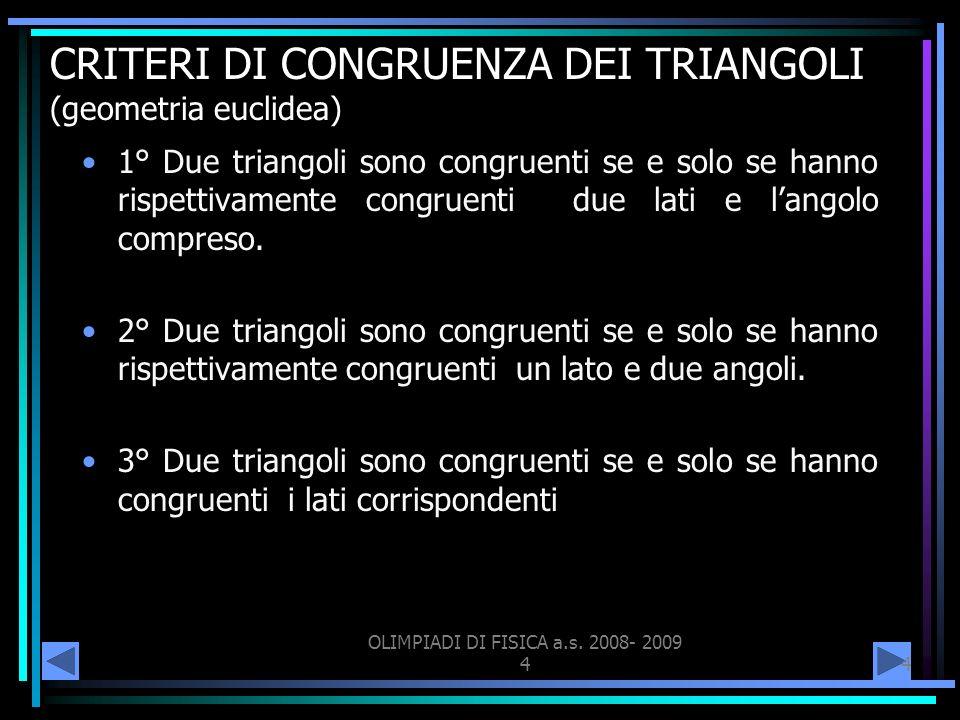 OLIMPIADI DI FISICA a.s. 2008- 2009 44 CRITERI DI CONGRUENZA DEI TRIANGOLI (geometria euclidea) 1° Due triangoli sono congruenti se e solo se hanno ri