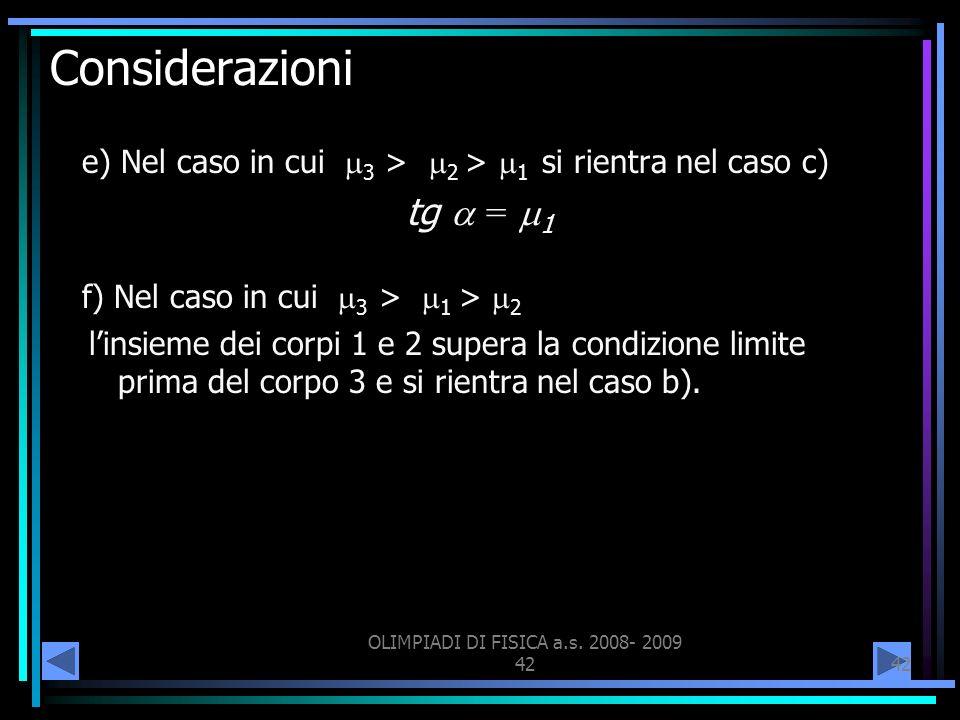 OLIMPIADI DI FISICA a.s. 2008- 2009 42 Considerazioni e) Nel caso in cui 3 > 2 > 1 si rientra nel caso c) tg = 1 f) Nel caso in cui 3 > 1 > 2 linsieme