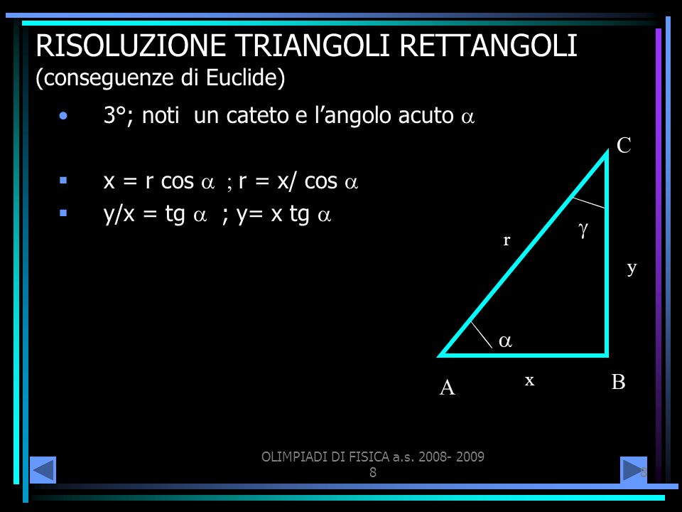 OLIMPIADI DI FISICA a.s. 2008- 2009 88 RISOLUZIONE TRIANGOLI RETTANGOLI (conseguenze di Euclide) 3°; noti un cateto e langolo acuto x = r cos r = x/ c