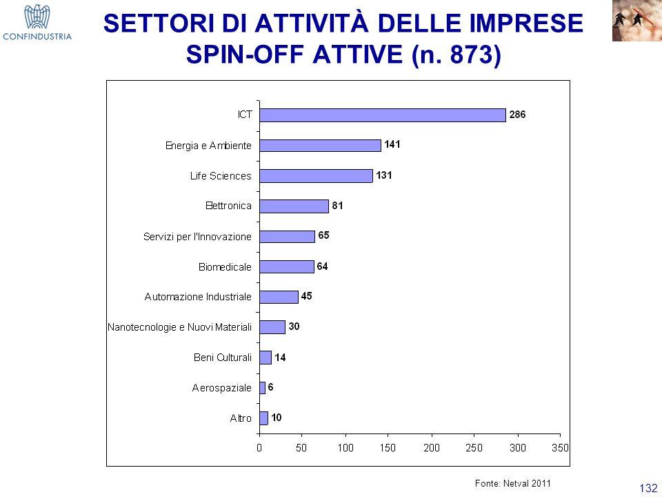 132 SETTORI DI ATTIVITÀ DELLE IMPRESE SPIN-OFF ATTIVE (n. 873) Fonte: Netval 2011