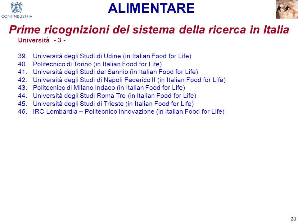 20 Prime ricognizioni del sistema della ricerca in Italia ALIMENTARE Università - 3 - 39.Università degli Studi di Udine (in Italian Food for Life) 40