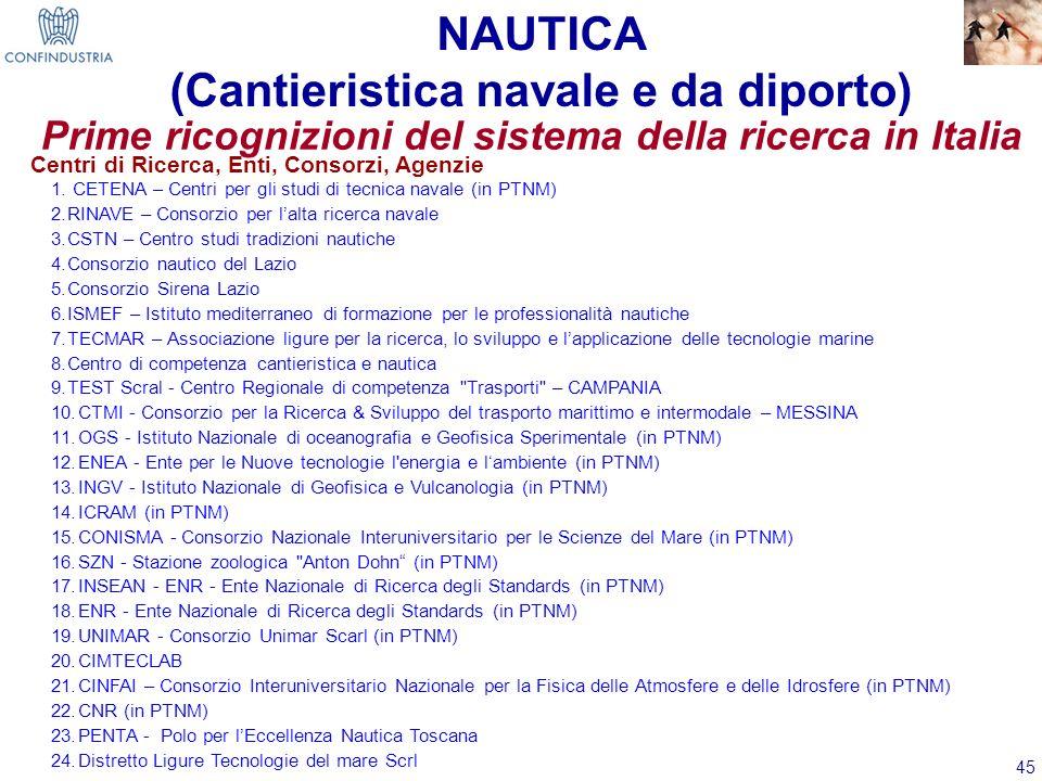45 Prime ricognizioni del sistema della ricerca in Italia 1. CETENA – Centri per gli studi di tecnica navale (in PTNM) 2.RINAVE – Consorzio per lalta