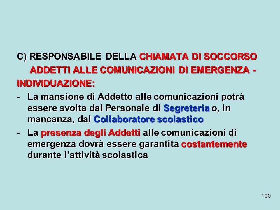 100 C) RESPONSABILE DELLA CHIAMATA DI SOCCORSO ADDETTI ALLE COMUNICAZIONI DI EMERGENZA - ADDETTI ALLE COMUNICAZIONI DI EMERGENZA -INDIVIDUAZIONE: -La