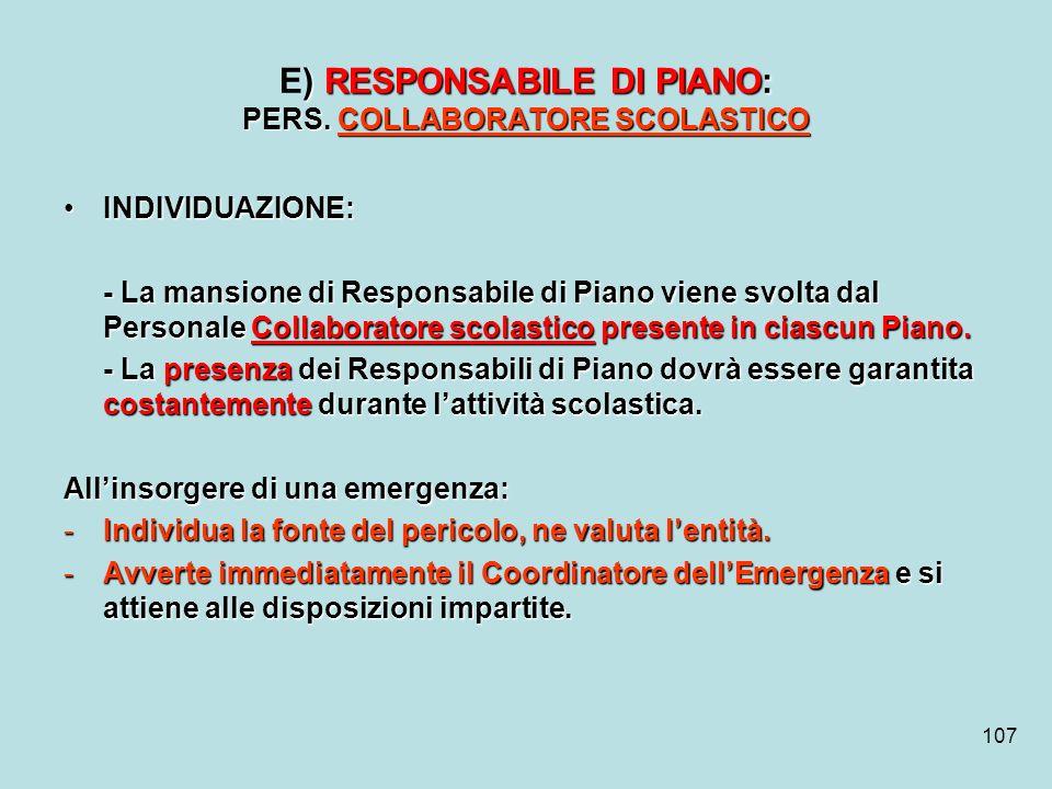 107 ) RESPONSABILE DI PIANO: PERS. COLLABORATORE SCOLASTICO E) RESPONSABILE DI PIANO: PERS. COLLABORATORE SCOLASTICO INDIVIDUAZIONE:INDIVIDUAZIONE: -