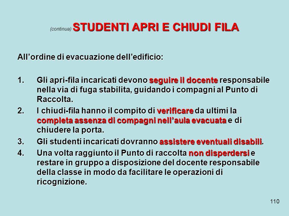 110 STUDENTI APRI E CHIUDI FILA (continua) STUDENTI APRI E CHIUDI FILA Allordine di evacuazione delledificio: 1.Gli apri-fila incaricati devono seguir