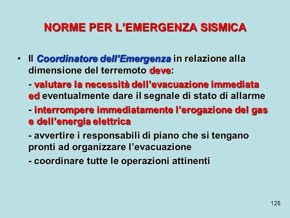 125 NORME PER LEMERGENZA SISMICA Il Coordinatore dellEmergenza in relazione alla dimensione del terremoto deve:Il Coordinatore dellEmergenza in relazi