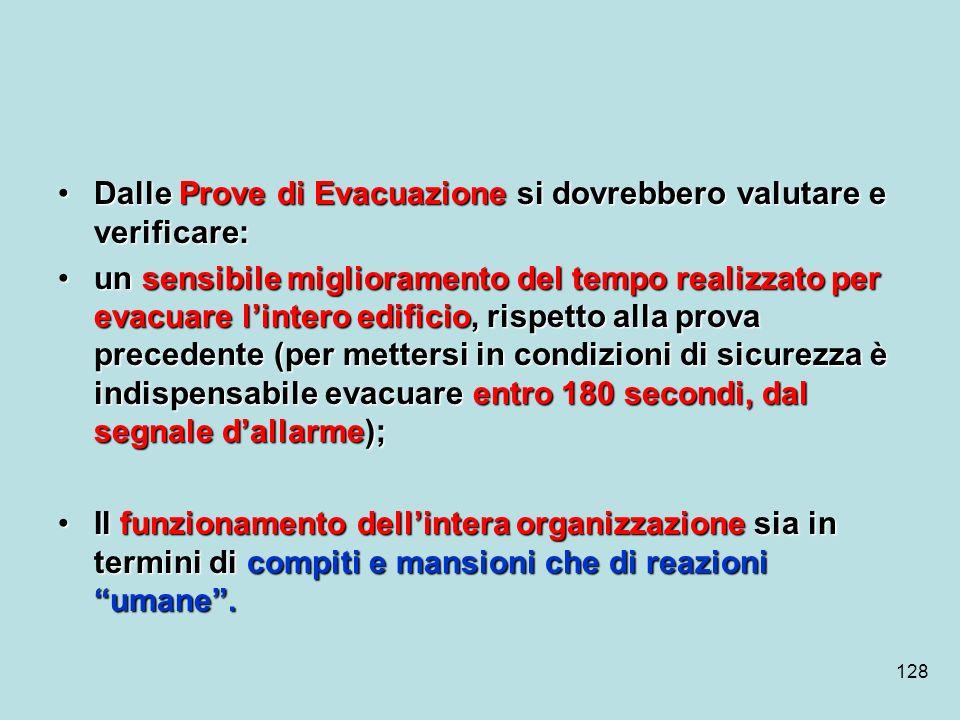 128 Dalle Prove di Evacuazione si dovrebbero valutare e verificare:Dalle Prove di Evacuazione si dovrebbero valutare e verificare: un sensibile miglio