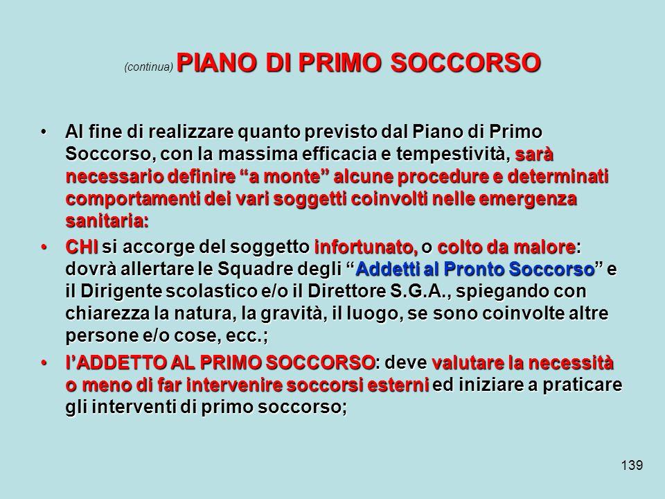 139 PIANO DI PRIMO SOCCORSO (continua) PIANO DI PRIMO SOCCORSO Al fine di realizzare quanto previsto dal Piano di Primo Soccorso, con la massima effic