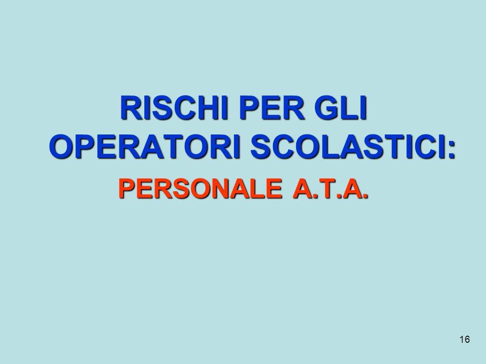 16 RISCHI PER GLI OPERATORI SCOLASTICI: PERSONALE A.T.A.