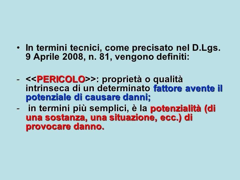 In termini tecnici, come precisato nel D.Lgs. 9 Aprile 2008, n. 81, vengono definiti: - >: proprietà o qualità intrinseca di un determinato fattore av