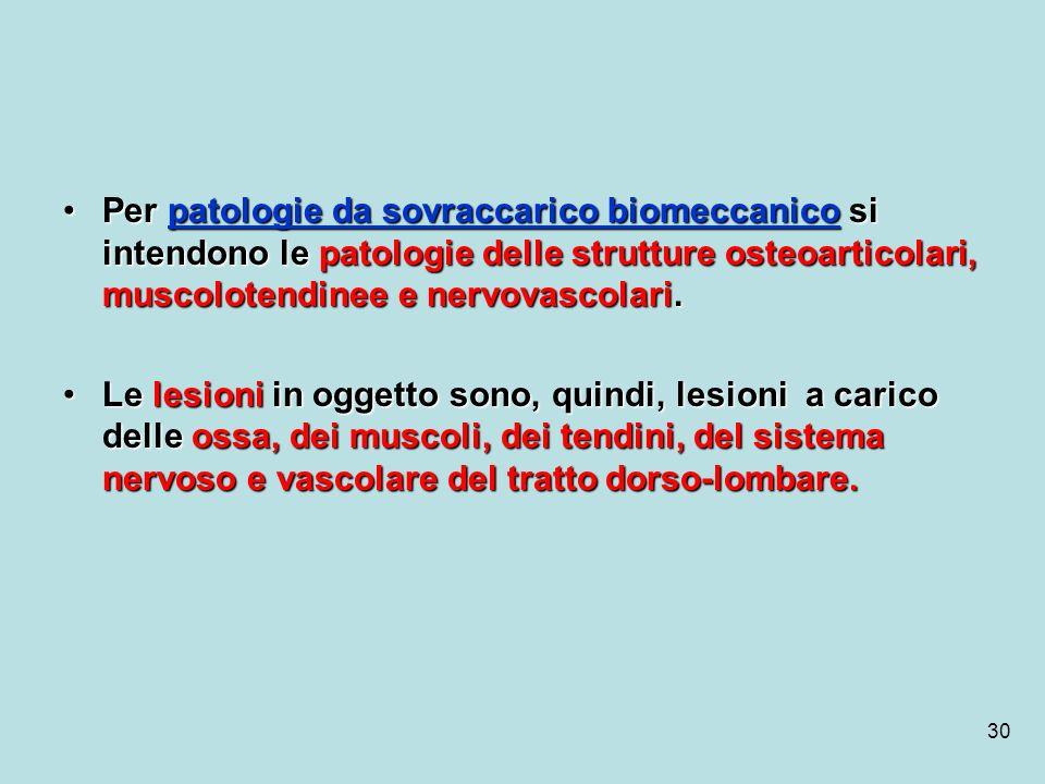 30 Per patologie da sovraccarico biomeccanico si intendono le patologie delle strutture osteoarticolari, muscolotendinee e nervovascolari.Per patologi
