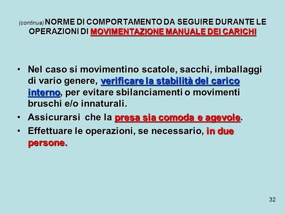 32 NORME DI COMPORTAMENTO DA SEGUIRE DURANTE LE OPERAZIONI DI MOVIMENTAZIONE MANUALE DEI CARICHI (continua) NORME DI COMPORTAMENTO DA SEGUIRE DURANTE