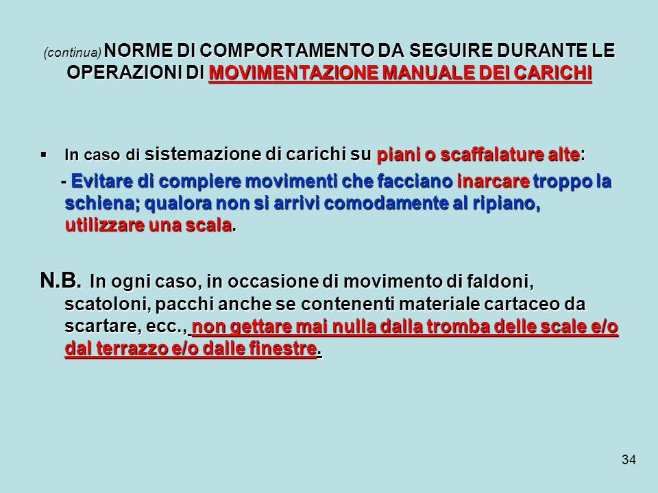34 NORME DI COMPORTAMENTO DA SEGUIRE DURANTE LE OPERAZIONI DI MOVIMENTAZIONE MANUALE DEI CARICHI (continua) NORME DI COMPORTAMENTO DA SEGUIRE DURANTE